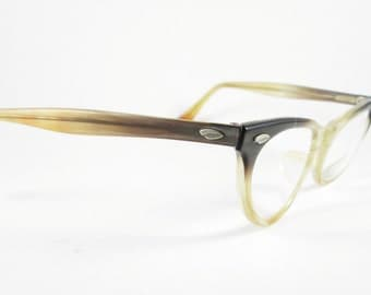 Cat Eye Glasses Vintage Brown Ombre Plastic Frames Eyewear Mid Century