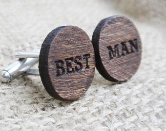 Best Man Cufflinks - Wood Cuff Links - Engraved Wood Cufflinks - Best Man Proposal Gift Wedding Party - Bestman Cufflinks for Groomsmen