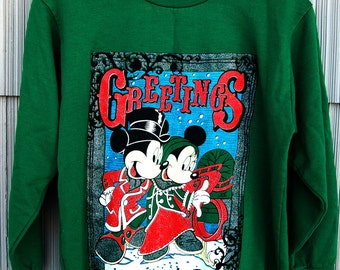 Vtg Mickey 2 Sided Christmas Sweatshirt Minnie Mouse Happy Holidays Greetings Womens S XS USA Made Tacky Sweater
