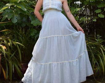 70's Gauzy Cotton Icey Lace Gown