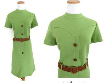 Vintage Mod Dress 60s Shift Avocado Green Sixties 1960s Twiggy Scooter Size Medium Large Belted Mid Century