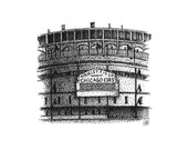 """Wrigley Field Baseball Stadium, Chicago Cubs, 5""""x5"""" Giclee Print of Original Pen and Ink Drawing."""