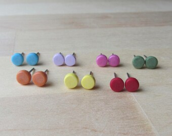4 mm Tiny Matte Round Studs, Bright Spring Colors, Titanium Hypoallergenic Nickel Free Posts Studs, Simple Minimalist Earrings