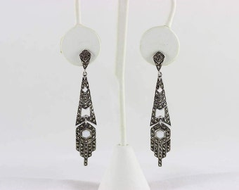 Sterling Silver Marcasite and Mother of Pearl Art Deco Antique Dangle Drop Earrings