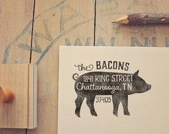 Pig Return Address Stamp - Custom Rubber Stamp