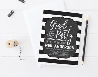 Chalkboard Grad Party Invitation - Printable Hipster Graduation Invites - Bold Black and White Modern Grad Announcements - Instant Download