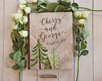 Rustic Trees Guest Book - Country Wedding Guestbook - Custom Mountain Wedding Guest Book - Rustic Woodsy Keepsake - 8 x 10
