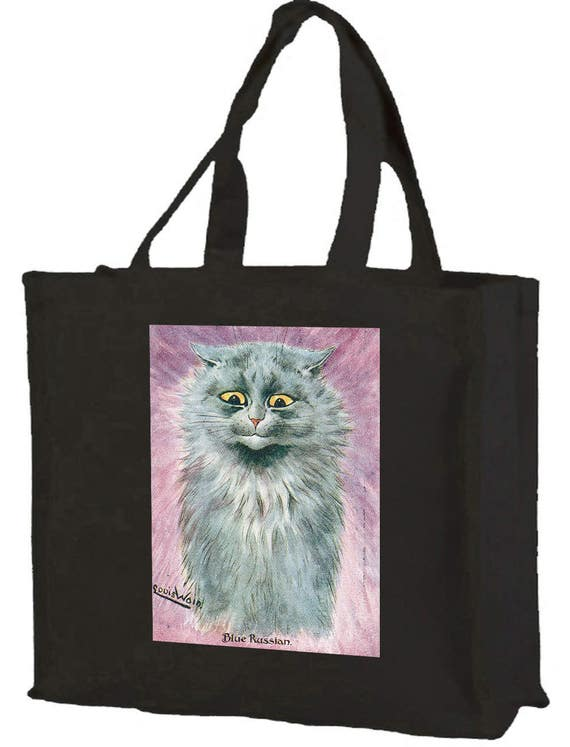 Louis Wain Blue Russian Cat Cotton Shopping Bag with gusset and long handles, 3 colour options