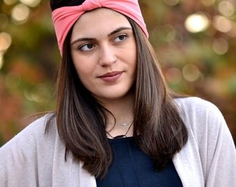Coral Headband, Jersey Headband, Boho Headband, Cotton Headband, Running Turban, Yoga Turban, Workout Headband, Womens Gift, Womens Headband