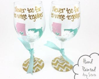 SET OF 2 - Free Personalization - Hand Painted State to State Country Wine Glass Chevron Personalized Birthday Best Friend Long Distance