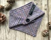 Tweed dog bandana, neckerchief, scarf, cape. Wool, tartan, checked, country, farm dog. Gundog. Black button. Girl, boy. Slip over head