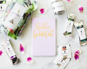 "Hand-Painted Moleskine Journal -  ""Hello Beautiful"""