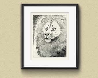 Lion Etching Print: Hand-printed animal  aquatint etching art