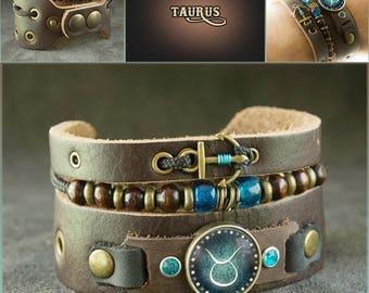 Men's Taurus Bracelet with Anchor and Beads