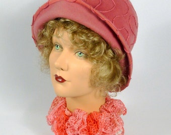 Dusty Rose Cloche Hat - Hand Made with  Vintage French Velour Felt  - 1920s - 1930s Style - Hand Sewn Cording Work - Downton Abbey - Gatsby