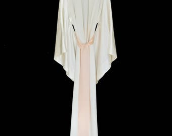 Silk kimono full length maxi length Kimono jacket,silk dressing gown, in a heavy weight pure silk crepe, brides silk robe