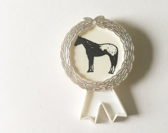 Vintage horse riding rosette medal - piebald pony, white and silver plastic, show jumping badge, equestrian interest, stables, kitsch