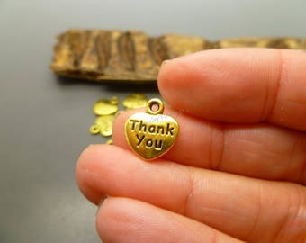 10 Thank you Antique Gold Charms For Jewelry Making or Cards Embellishments  -MC1216
