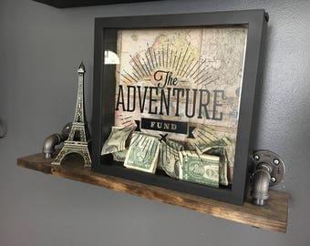 The Adventure Fund Shadowbox with Vinyl Decal / Piggy Bank / Savings / Travel Fund / Honeymoon Fund