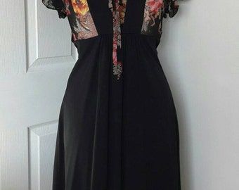 70s Black Polyester Dress / Vintage Floral Georgette Empire Line  Dress / 1970s Boho Dress / Bohemian / Hippie Dress / Size Extra Small