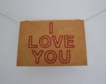 I love you | Hand sewn A6 card