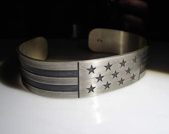 Men's Sterling Silver Cuff. Men's Copper Cuff. Bracelet, wrist band, or cuff. USA, patriotic cuff.