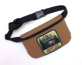 Smokey the bear, fanny pack ,Handmade bum bag ,belly bag, gym bag, Belt bag , Utility belt, Vegan Fanny Pack, festival fanny pack , 420 ,bag