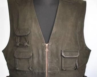 Vintage LEATHER VEST , men's leather vest ....(051)