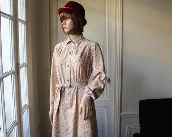 Collared dress small flowers Liberty beige dress long sleeves 70s vintage cotton dress flowery collar buttoned shirt dress with belt - XS
