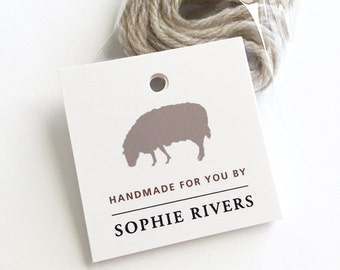"Personalized Knitting Tag, Handmade Tags, Custom Clothing Tags, Gift for Knitter, Sheep Tag, Set of 12 Hang Tags, 2.25"" x 2.25"""