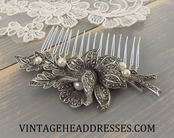 Vintage Marcasite & Pearl Hair Comb, Marcasite Bridal Hair Comb, Vintage Wedding Hair Comb, Floral Comb, Bridal Hair Accessory, Hair Clip