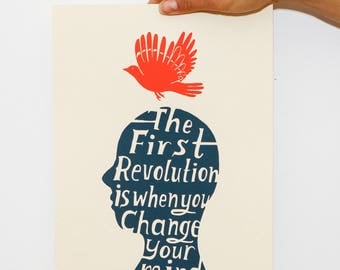 The First Revolution Poster Print - Small Wall Art Quote Art Print, Bird Print, Inspirational Quote Print, Poster Art, Handwritten Font