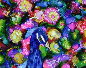 Alcohol Ink Art.  Alcohol Ink Print. Paon.
