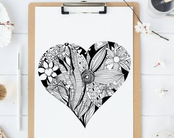 Adult Coloring Page - HEART - printable digital download