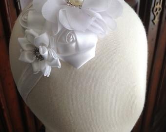 Flower Girl Headband-  White  Headband-  Baby Girl Headband- Girls Headbands- Toddler headband