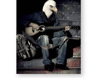 "American Eagle Art Print Gift For Him Anthropomorphic Americana Wall Art Patriotic Bird Photography (3 sizes) ""May Your Song Always Be Sung"""