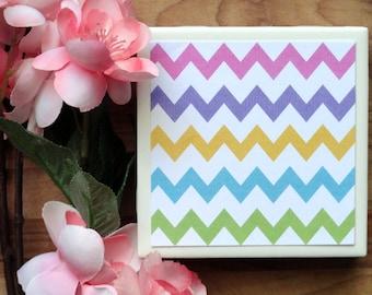 Chevron Coasters - Ceramic Coasters - Coasters - Tile Coasters - Table Coasters - Drink Coasters - Handmade Coasters - Coaster Set of 4