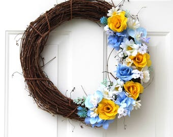 Floral Wreath - Front Door Wreath - Summer Wreath - Wreath for Door - Spring Wreath - Wreaths - Grapevine Wreath - Wreath - Everyday Wreath