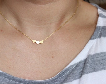 Gold heart necklace, tiny heart necklace, sister gift, dainty heart necklace, delicate necklace, bridesmaid gift, goft for mom, best friend