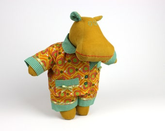 Dress up doll hippo -Gift for kids -Soft doll -I want a hippopotamus for Christmas -Gender neutral toy -Stuffed animal -Fabric doll