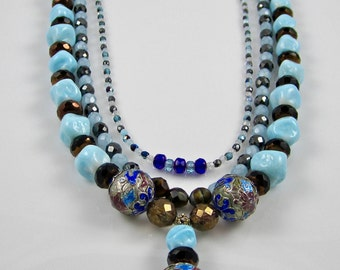 Multi-Strand Vintage Necklace with Pendant