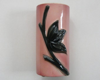 Royal Copley Vase Pink with Black Flower Lotus Lily Mid Century Modern
