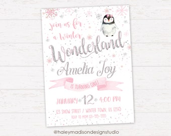 Penguin Birthday Invitation, Winter Wonderland Invitation, Pink, Silver, Winter Onederland Invitation DIGITAL FILE