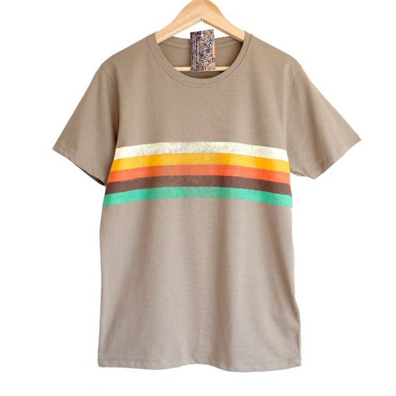 RETRO STRIPES t shirt. 100% organic cotton t-shirt. Hand printed. Khaki beige shirt. Retro colours. Rainbow t-shirt