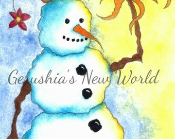 Hope Is At Hand - Salted Watercolor, Print, Snowman, Whimsical