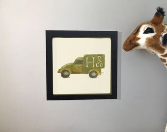 Little Green Van-(Can be personalised with a initial) Giclee Print 8x8. UNFRAMED. **10 Days despatch Time**