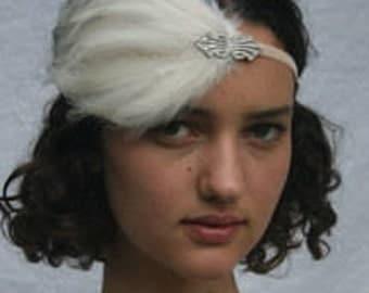 GATSBY Feather Headpiece, 1920s bridal headband silver ivory feather art deco fascinator, silver Swarovski fascinator stretch elastic velvet