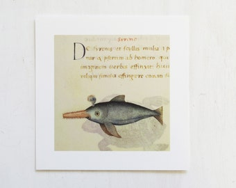 Medieval Sawfish Print by Pietro Candido Decembrio Medieval Bestiary  Vatican Library Collection Art Iris Print 8 x 8 New Old Stock