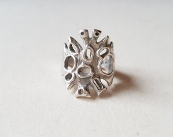 Vintage organic silver ring, Unoaerre, Italy, c1990 (F557)