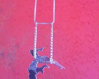 Aerial acrobatic pendant / Trapeze girl necklace jewel